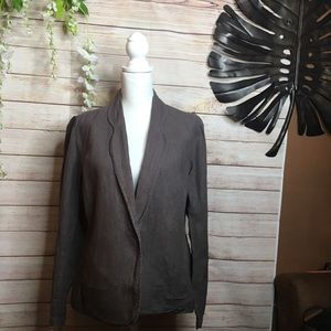 Eileen Fisher gray linen blazer size XL